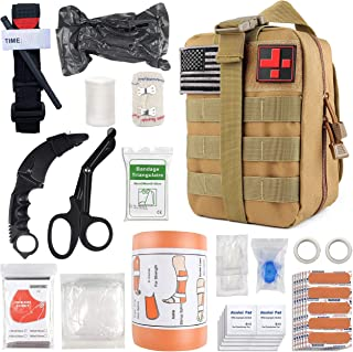 """PRICARE Emergency Survival First Aid Kit with Tourniquet, 6"""" Israeli Bandage, Splint, Military Combat Tactical Molle IFAK EMT for Trauma Wound Care, Battle, Bleeding Control and More"""
