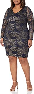 Marina Women's Plus Size Foiled Lace Cocktail Dress