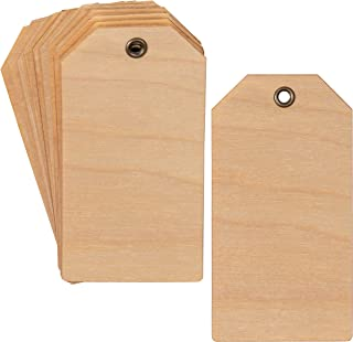Paper Junkie Wood Tag Labels with Brass Hole Buckles for Gifts, Wedding Party Favors, DIY Arts and Crafts, 3.5 x 1.8 Inches