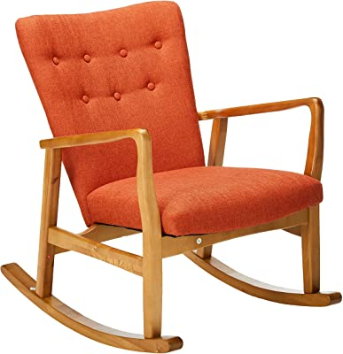 Christopher Knight Home Callum Mid-Century Fabric Rocker, Muted Orange / Light Walnut