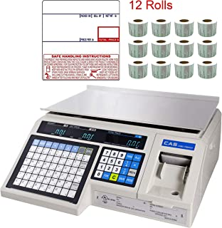 CAS LP-1000N Label Printing Scale Legal for Trade , 30 x 0.01 lb with a FREE 1 case CAS LST-8040 UPC/Safe Handling Label, 58 x 60 mm