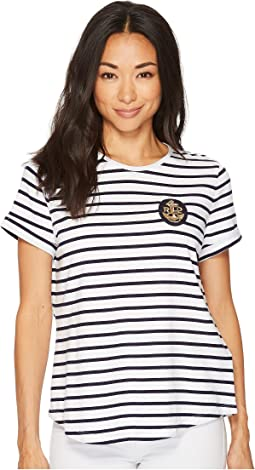 LAUREN Ralph Lauren Petite Bullion-Patch Striped T-Shirt