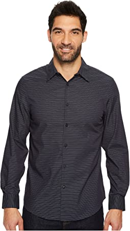 Perry Ellis - Long Sleeve Horizontal Multicolor Stripe Shirt