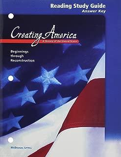 McDougal Littell Creating America: Reading Study Guide Answer Key Grades 6-8 Beginnings through Reconstruction