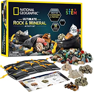 NATIONAL GEOGRAPHIC Rock Party Set – 1.25 lb Assorted Rocks and Gemstones, 10 Specimens Each of Pyrite, Desert Rose, Quartz, Pumice, and Tiger's Eye, 10 Individual Carry Bags and Identification Guide