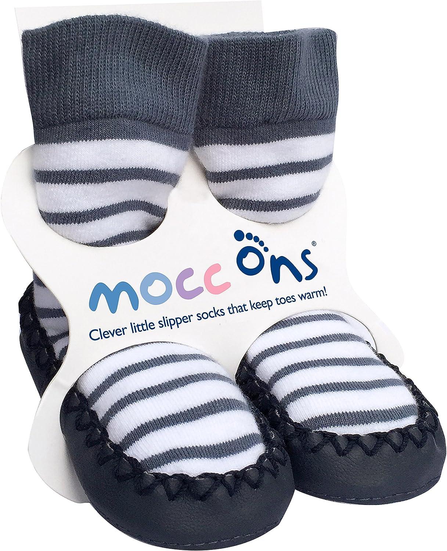Mocc Ons Clever Little Moccasin Style Slipper Socks for Kids, Nautical Stripe