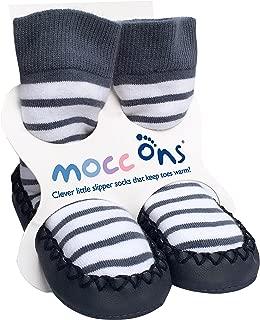 Clever Little Moccasin Style Slipper Socks for Kids, Nautical Stripe