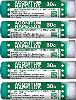 OLLOIS Organic & Lactose-Free Aconitum Napellus 30c Homeopathic Pellets, Pack of 5, 400 Count