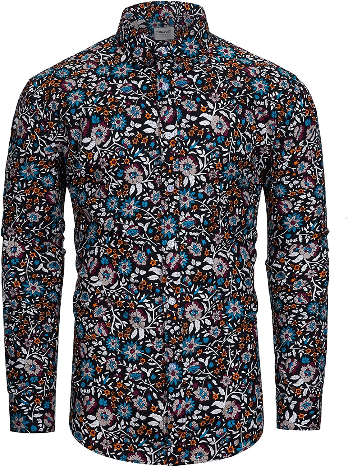 Weekly update TUNEVUSE Mens 100% Cotton Floral Flower Print Long Sleeve Shirt Opening large release sale