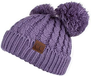Hatsandscarf CC Exclusives Cable Knit Double Pom Winter Beanie(HAT-60) (Violet)