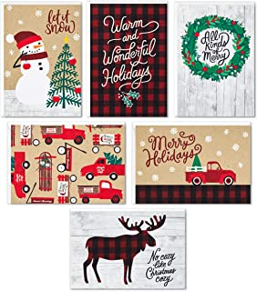 Hallmark Boxed Christmas Cards Assortment, Rustic Holidays (6 Designs, 24 Cards with Envelopes)