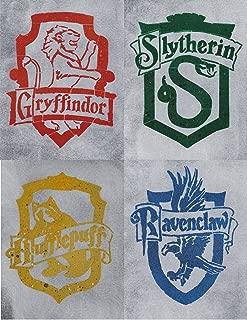 Hogwarts House Crest Set Metal Art Painting Gryffindor Slytherin Hufflepuff Ravenclaw