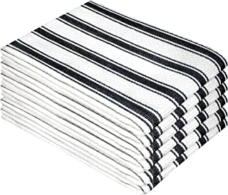Cotton Clinic Vintage Stripe 100% Cotton Kitchen Dish Towels 6 Pack 16x26, Dish Cloths, Bar Towels, Tea Towels and Cleaning Towels, Kitchen Towels with Hanging Loop, Black White