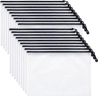 Mifflin USA Mesh Zipper Pouch Document Bag (Black, A4 Letter Size, 18 Pack), Clear Travel Zipper Bags, Waterproof Plastic ...