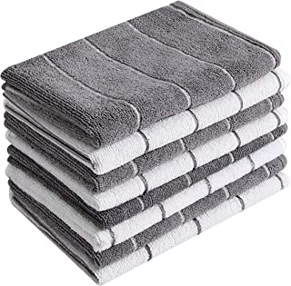 Microfiber Kitchen Towels - Super Absorbent, Soft and Solid Color Dish Towels, 8 Pack (Stripe Designed Grey and White Colo...