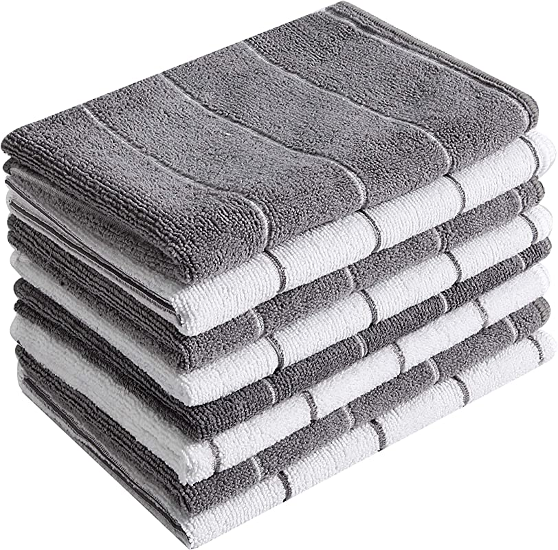 Microfiber Kitchen Towels Super Absorbent Soft And Solid Color Dish Towels 8 Pack Stripe Designed Grey And White Colors 26 X 18 Inch