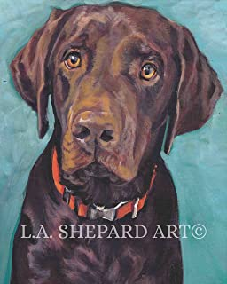 A Labrador Retriever dog art portrait print of an LA Shepard painting 8x10