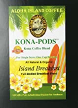 Kona Coffee Blend, Island Breakfast, Soft Coffee Pods for Senseo and All Soft Pod Coffee Brewers, 18 Pods, Reusable Adapter for K-cup Brewing