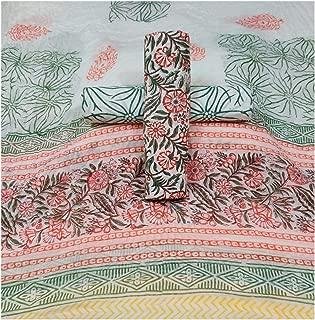 Women's Cotton Jaipuri Hand Block Print Unstitched Salwar Suit Material With Cotton Dupatta