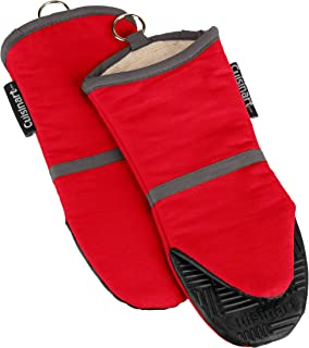Cuisinart Silicone Oven Mitts - Heat Resistant up to 500 degrees F Handle Hot Cooking Items Safely - Non-Slip Grip Oven Gloves with Soft Insulated Deep Pockets and Convenient Hanging Loop - Red, 2pk