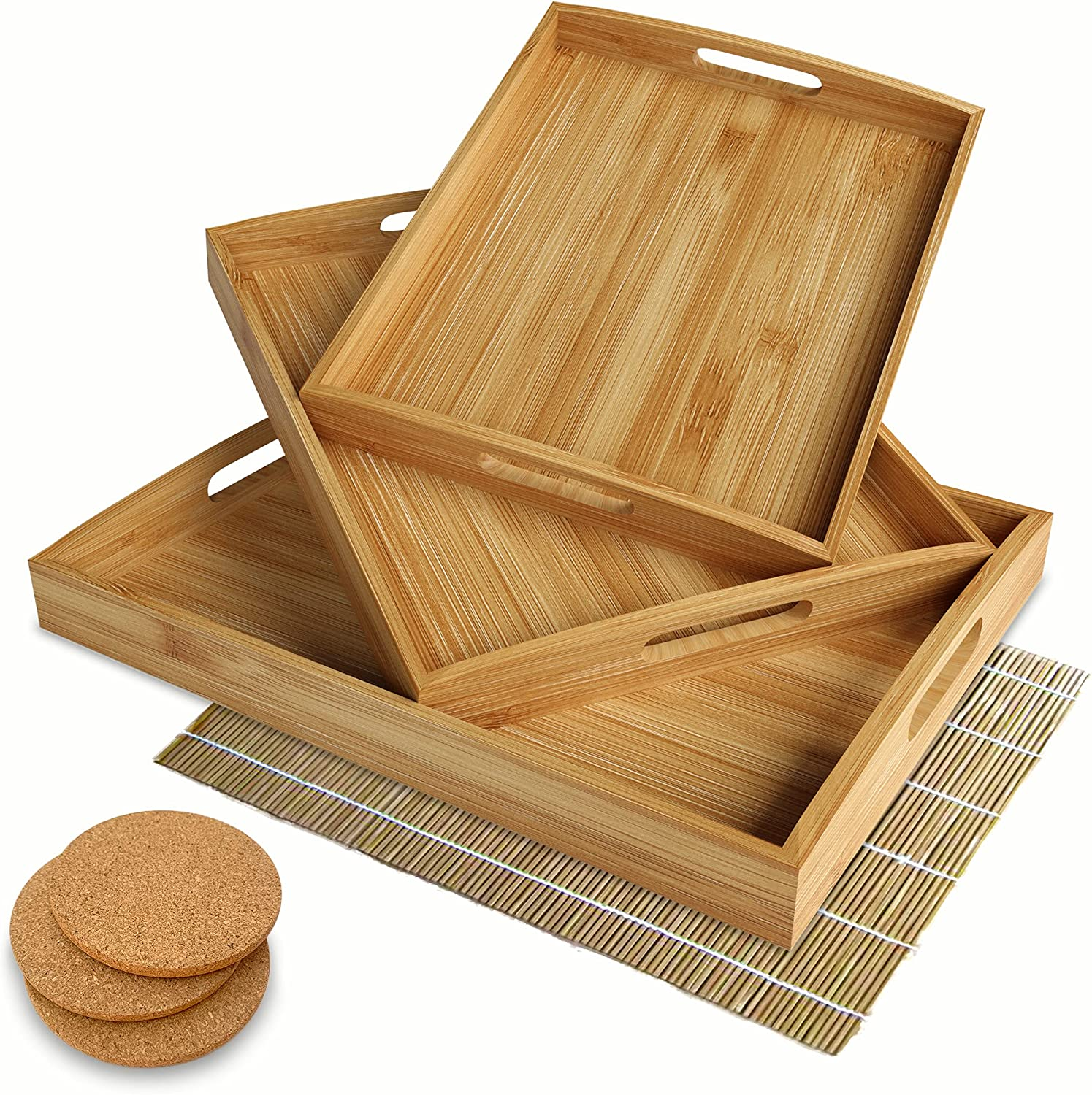 Set of 3 Large Bamboo Serving Trays – Large Serving Tray with Handles – Coffee Table Tray – Food Tray – Bed Tray