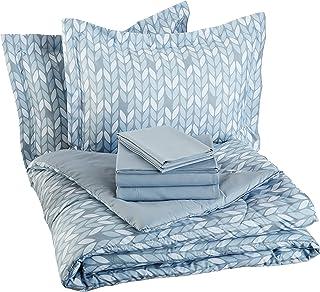 AmazonBasics 7 قطعه تختخواب در یک کیسه - کامل / ملکه ، برگ خاکستری