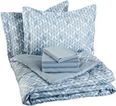AmazonBasics 7-Piece Bed-in-A-Bag - Full/Queen, Grey Leaf (Includes 1 bedsheet, 1 Comforter, 4 Pillowcases, 1 Fitted Sheet)