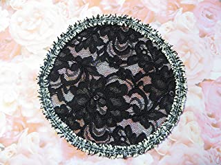Handmade black lace doily head cover with unique fringe trim Kippah Yarmulke Hair Covering Veil (with decorative bobby pin) (Style 1044) Elegant Doily Exclusive