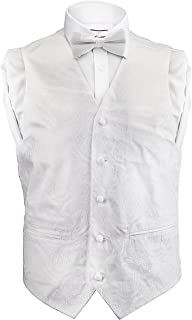 Men's Dress Vest Paisley 4 Piece Set Vest Neck Tie Hanky Bow Tie Matching for Suit or Tuxedo