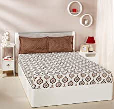 Amazon Brand - Solimo Damask Dreams 144 TC 100% Cotton Double Bedsheet with 2 Pillow Covers, Brown