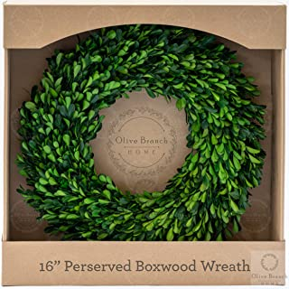 Olive Branch Home Preserved Boxwood Wreath with Gift Box, Medium Indoor Year Round Green Wreath (16 Inch Round)