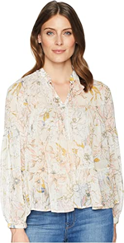 Floral Printed Peasant Top