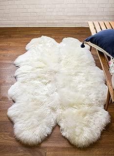 Super Area Rugs Genuine Thick Sheepskin Rug Four Pelt 4ft x 5.5ft Natural Fur, Quarto