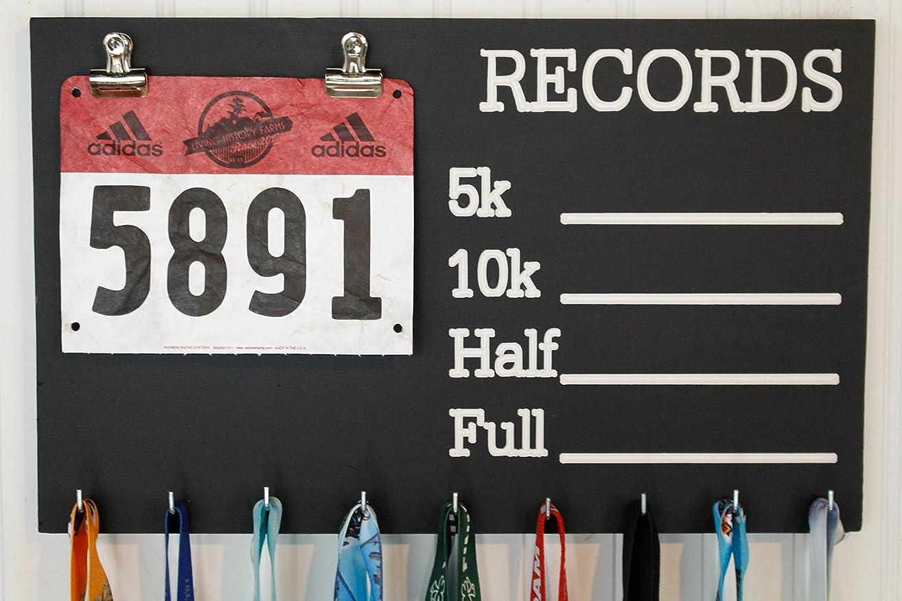 Records Chalkboard PR Running Medal Holder - Carved Records Chalkboard Race Medal Holder - Bib Holder
