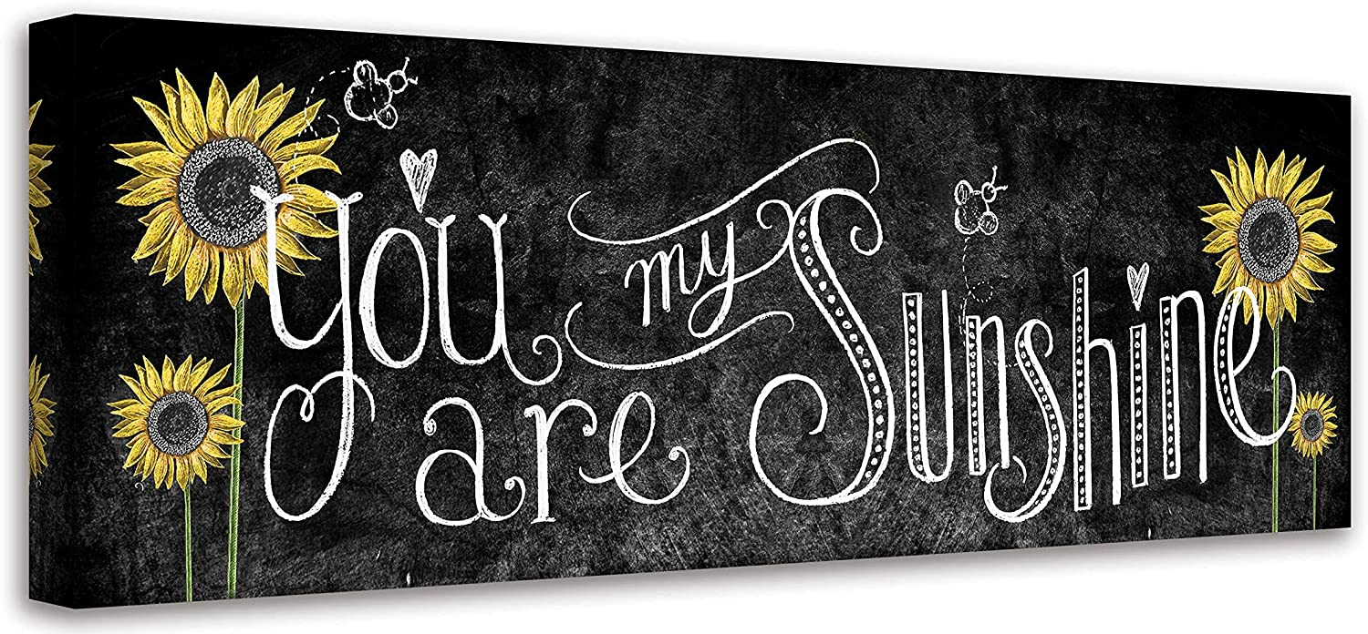 Sunflower Wall Art You Are My Sunshine Inspirational Quotes Wall Decor Rustic Sunflower Painting Picture Signs Canvas Print Artwork For Kitchen Living Room Bedroom Bathroom Home Decor 6x17 Inch