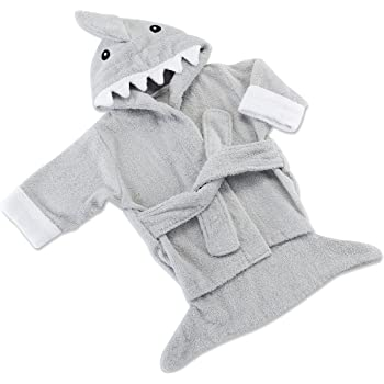 """Baby Aspen Hooded Shark Robe,""""Let The Fin Begin"""", Ultra Soft Gray Cotton Terry Toddler/Baby Boy Towel"""