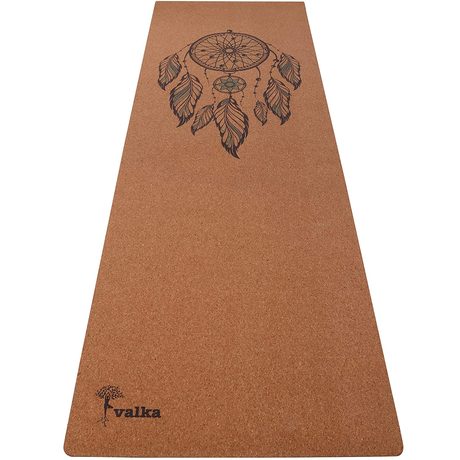 Valka Yoga Cork Yoga Mat - Beautiful Cork Rubber Yoga Mats with Carry Strap. Non Slip, Eco Friendly & Antimicrobial 72