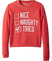 The Original Retro Brand Kids - Nice Naughty I Tried Hacci Pullover (Big Kids)
