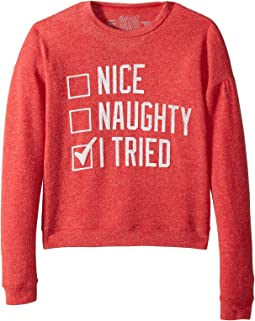 The Original Retro Brand Kids - Nice Naughty I Tried Hacci Pullover (Big Kids)