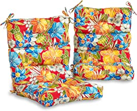South Pine Porch AM6809S2-ALOHA-RED Aloha Red Floral Outdoor High Back Chair Cushion, Set of 2