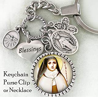 St. Colette Key Chain, Purse Clip or Necklace, Patron Saint of Expectant Mothers, Catholic Confirmation Gift