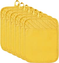 6Pcs Pot Holder with Pocket for Kitchen Yellow Pocket Pot Holder Set Cotton Heat Resistant Potholder Terry Cloth Coaster K...