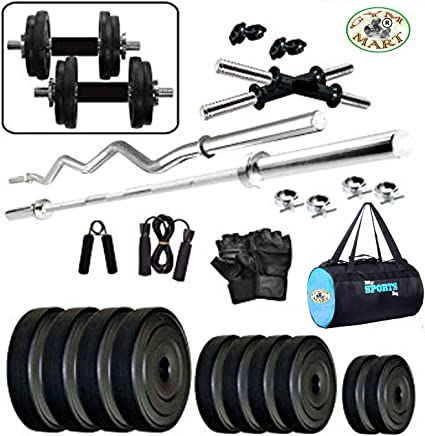 Gym Mart Combo2-WB Home Gym and Fitness Kit (50Kg, Black)