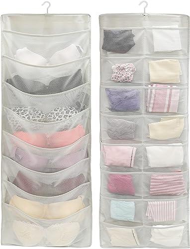 popular SimpleHouseware outlet online sale 24-Pocket Double-Sided online Hanging Closet Underwear Organizer, Grey outlet sale