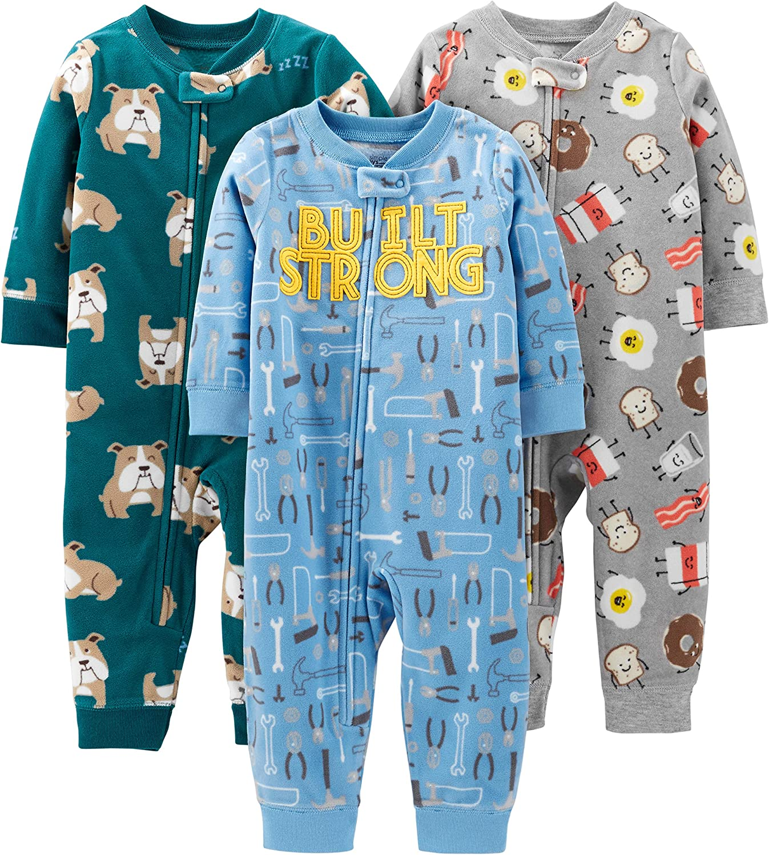 Simple Joys by Carters 3-Pack Loose Fit Flame Resistant Fleece Footed Pajamas Beb/é-Ni/ños Pack de 3