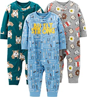 Baby and Toddler Boys' 3-Pack Loose Fit Fleece Footless Pajamas
