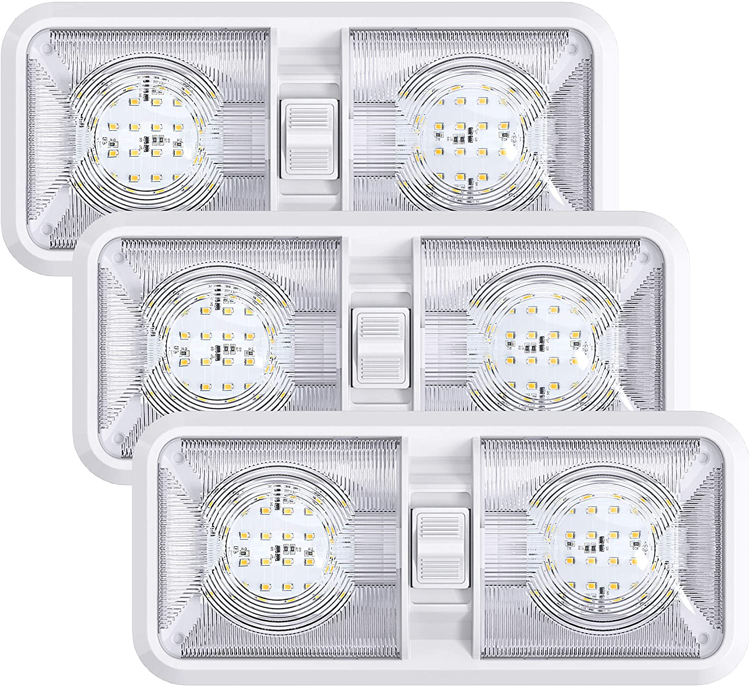 Leisure LED 3 Pack Bombing new work RV Ceiling with 70% OFF Outlet Fixture Light Dome Double