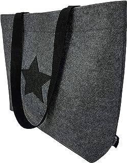 Tebewo Shopping-Bag aus Filz, große magnetisch verschließbare Einkaufs-Tasche mit Henkel und 2 Innentaschen, Einkaufskorb,...