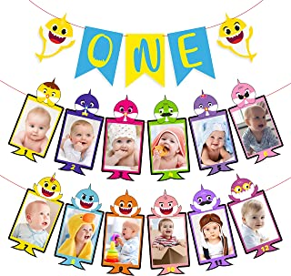 MALLMALL6 Little Shark 12 Months Photo Banner and One Birthday Banner Set Sharks Theme First Birthday Decoration Doo Doo Shark Family Party Supplies Cake Smash Photo Props for One Year Old Boys Girls