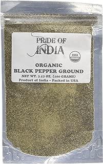 Pride Of India- Organic Black Pepper Ground - 8 oz (227gm) Large Dual Sifting Jar - Fresh Vegan Spice & Seasoning - Grown in India- Authentic Flavor - Superb Value